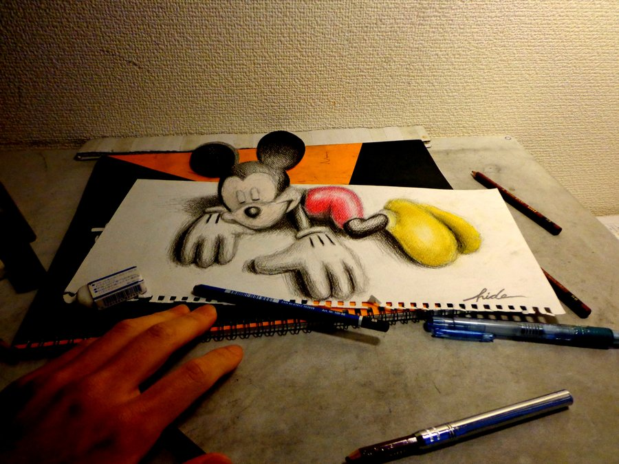 3D Drawing - 3D Mickey Mouse by NAGAIHIDEYUKI