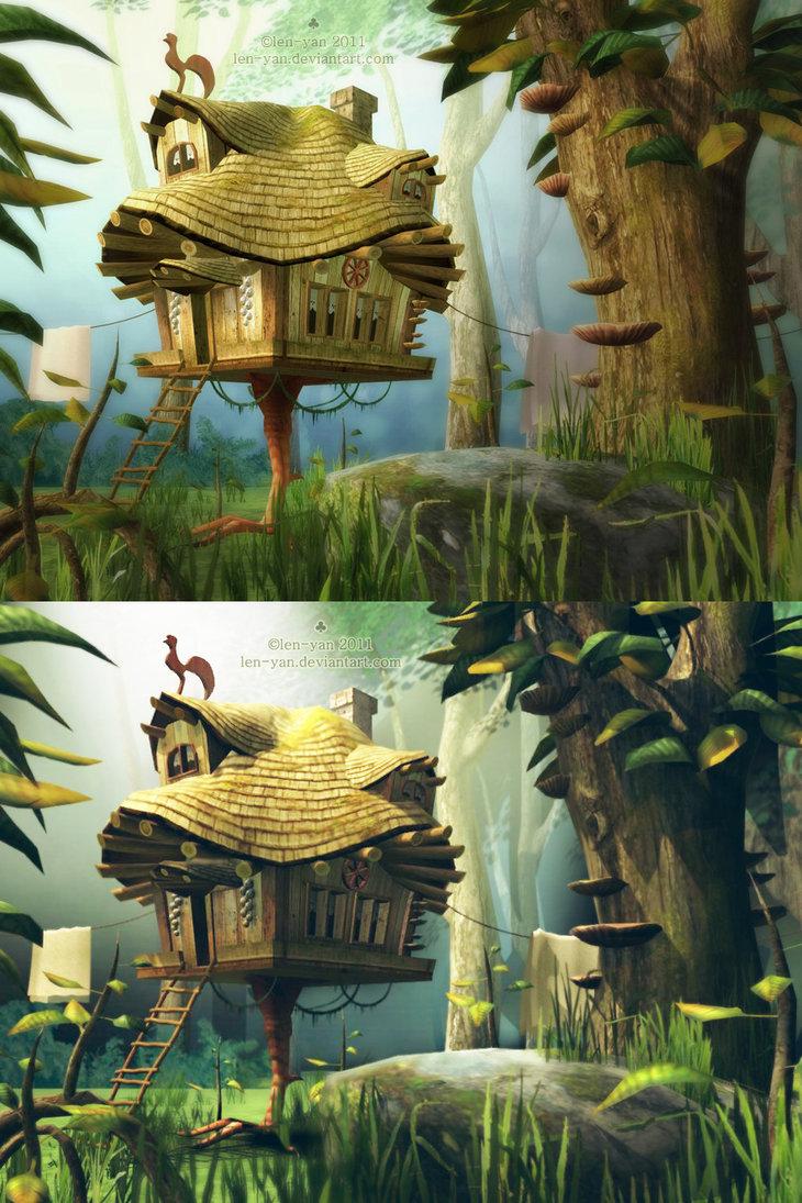hut on a chicken leg 3D by len-yan