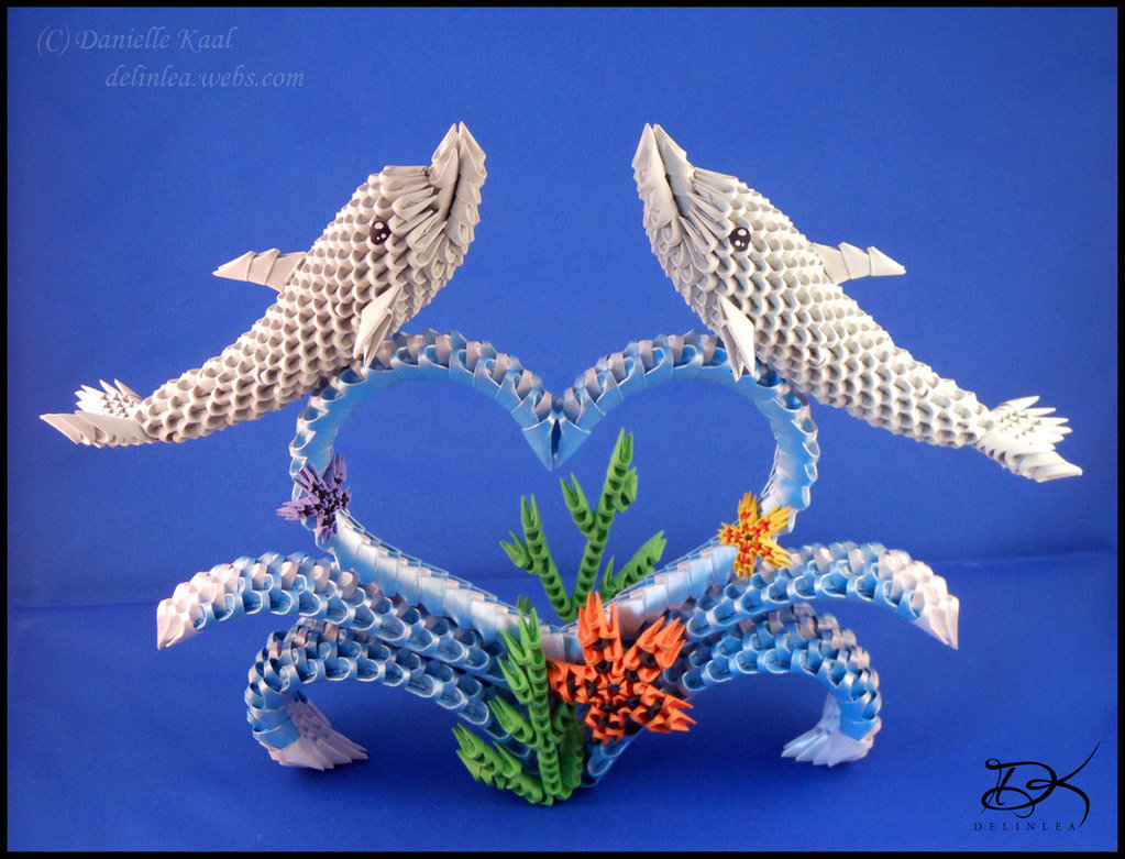 Dolphins  - 3D Origami - by Delinlea